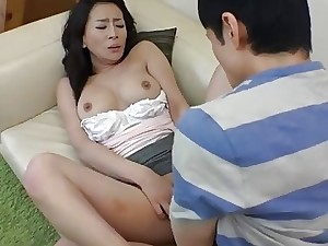 Asian mom gets a throatful for teasing the super-naughty stud