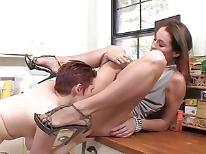 Lily Cade does some pluming out of reach of Ryan Keely mild sn