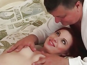Grandpa nailing red-hot youthfull redhead