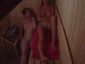Gals Flirting in Sauna