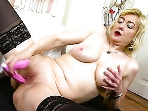 OldNanny Horny Ash-blonde Mature Evi Solo Pussy Playing