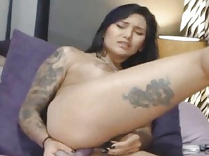 Sexy Tattooed Honey Fucked Her Both Slots