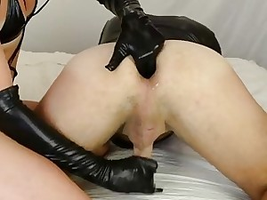 Blondie Feathers wears take cover gloves be advisable for say no to slave's prostate third degree