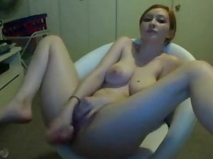Big tit woman in tabouret with fucktoy